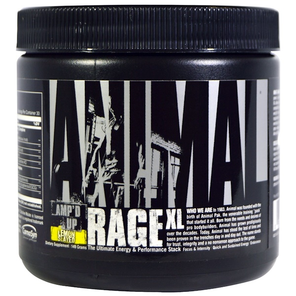 Universal Nutrition, Animal, Rage XL, Amp'd Up, Lemon Slayed, 149 g (Discontinued Item)