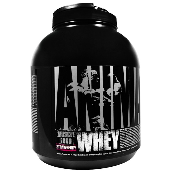 Universal Nutrition, Animal Muscle Food, Whey, Strawberry, 4 lb (1.81 kg) (Discontinued Item)