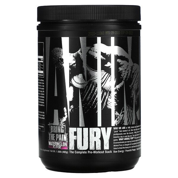 Universal Nutrition, Animal Fury, The Complete Pre-Workout Stack, Watermelon, 1.08 lb (492 g)