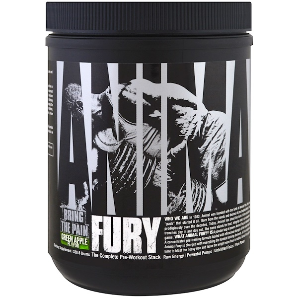 Universal Nutrition, Animal Fury, The Complete Pre-Workout Stack, Green Apple , 330.6 g (Discontinued Item)