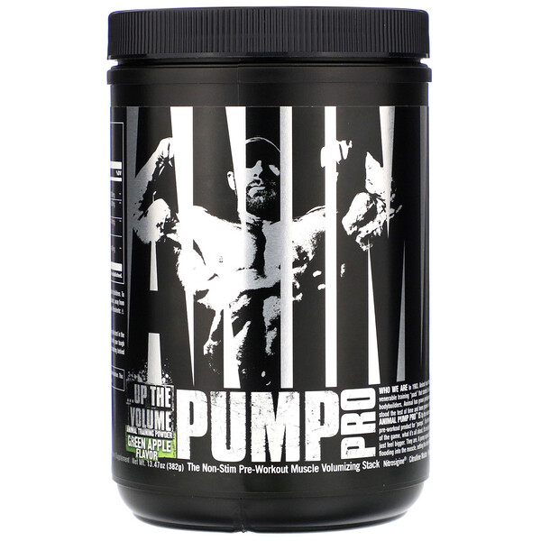 Animal Pump Pro, Non-Stim Pre-Workout, Green Apple, 13.47 oz (382 g)
