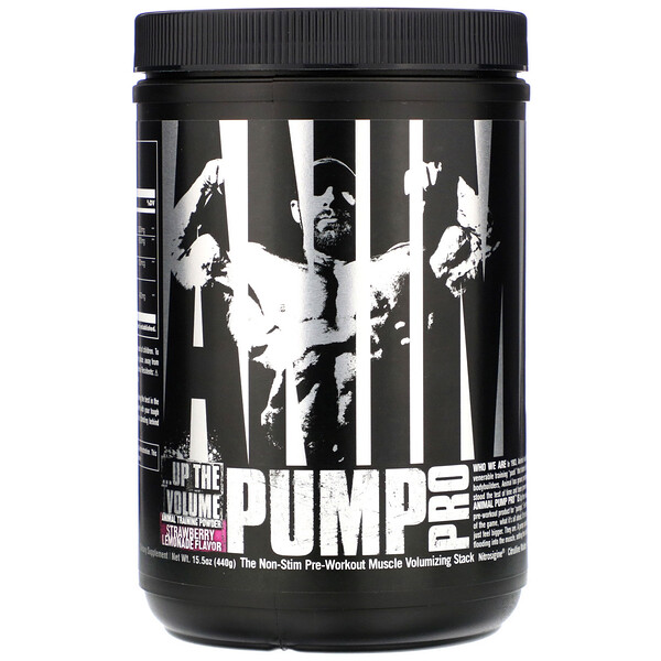Animal Pump Pro, Non-Stim Pre-Workout, Strawberry Lemonade, 15.5 oz (440 g)