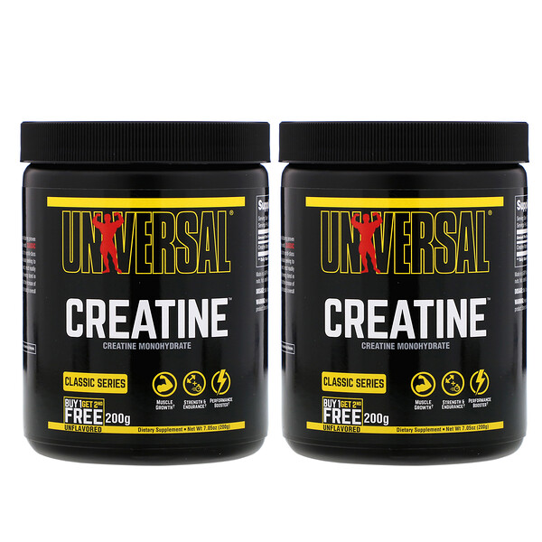 Universal Nutrition, Creatine, Unflavored, 2 Bottles, 200 g Each