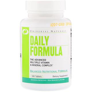 Universal Nutrition, Daily Formula, Complejo multivitamínico y minerales, 100 Tabletas
