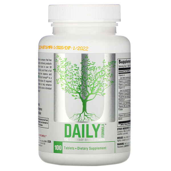 Universal Nutrition, 데일리 포뮬러, 매일 먹는 종합비타민, 100정