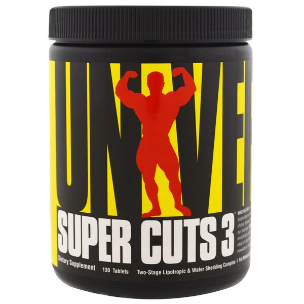 Universal Nutrition, Super Cuts 3, Two-Stage Lipotropic & Diuretic Complex, 130 Tablets