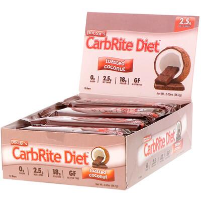 Doctor's CarbRite Diet, жареный кокос, 12батончиков, 56,7г (2,0 унции) каждый