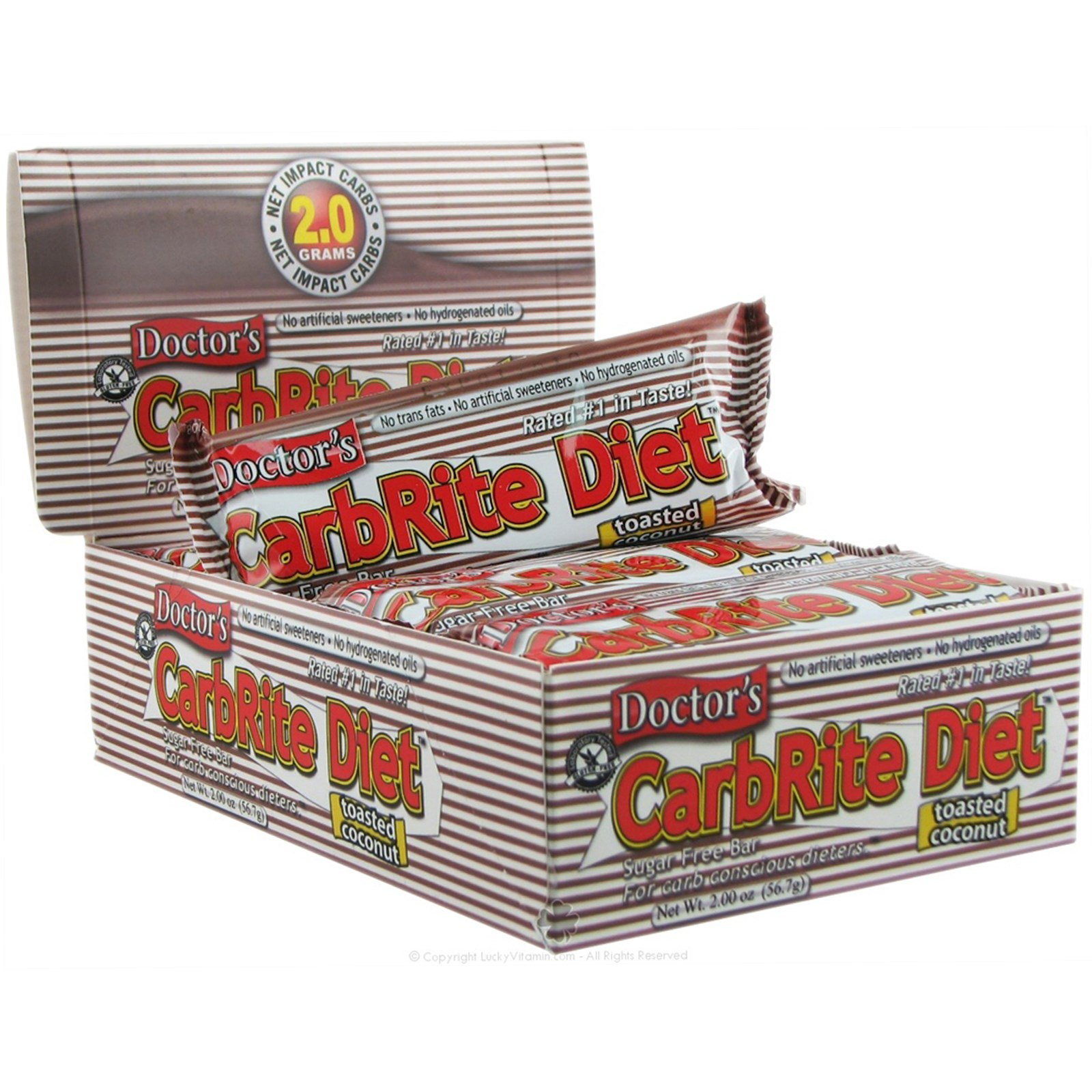Universal Nutrition, Диетические батончики без сахара с обжаренным кокосом Doctor's CarbRite, 12 батончиков, 2 унции (56,7 г) каждый