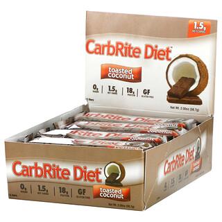 Universal Nutrition, Doctor's CarbRite Diet Bars 代餐棒,烤椰香,12 根,每根 2.0 盎司(56.7 克)