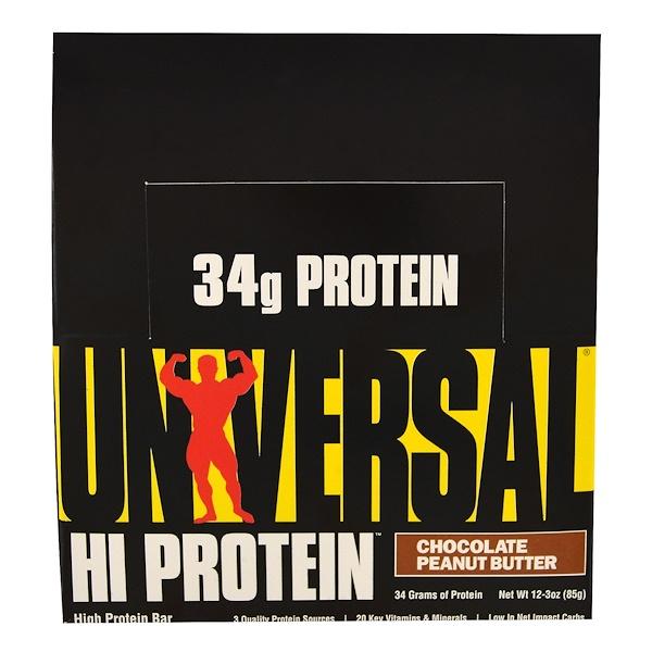 Universal Nutrition, 高蛋白質能量棒,巧克力花生醬,16條,每條3盎司(85克)