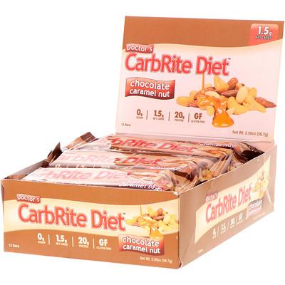 Купить Universal Nutrition Doctor's CarbRite Diet Bars, Chocolate Caramel Nut, 12 Bars, 2.00 oz (56.7 g) Each