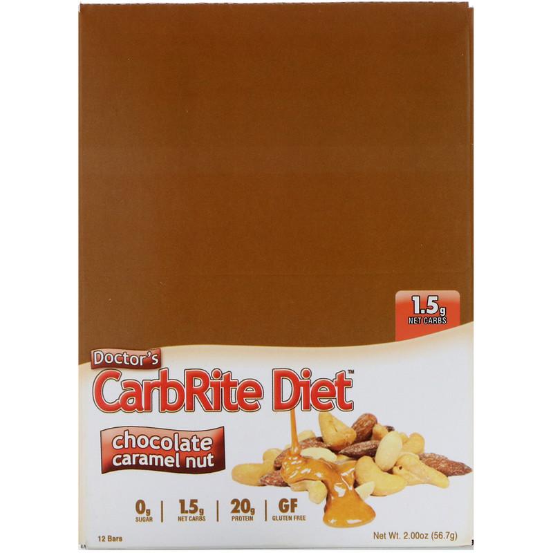 Universal Nutrition, Doctor's CarbRite Diet, Chocolate Caramel Nut, 12 Bars, 2.00 oz (56.7 g) Each - photo 1