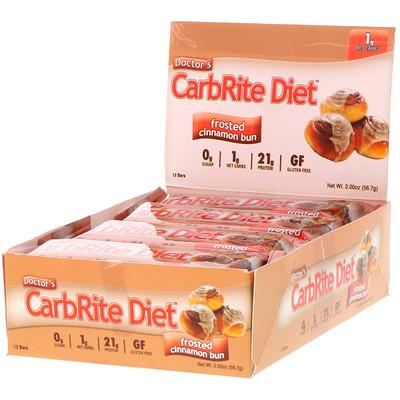 Doctor's CarbRite Diet, морозная булочка с корицей, 12батончиков, 56,7г каждый