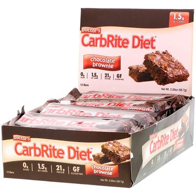Doctor's CarbRite Diet, шоколадный брауни, 12батончиков, 56,7г (2унции) каждый