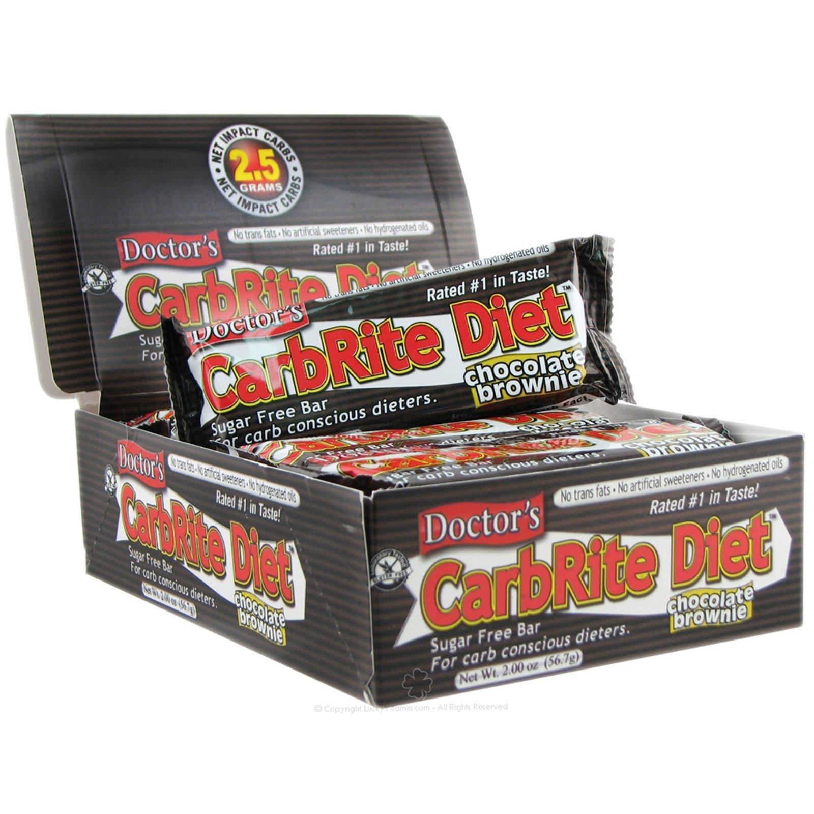Universal Nutrition, Диетические батончики без сахара со вкусом шоколадного пирожного Doctor's CarbRite, 12 батончиков, 2 унции (56,7 г) каждый