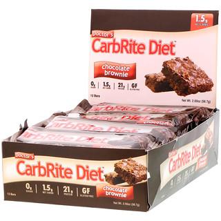 Universal Nutrition, Barras CarbRite Diet da Doctor's, Brownie de Chocolate, 12 Barras, 2,00 oz (56,7 g) Cada