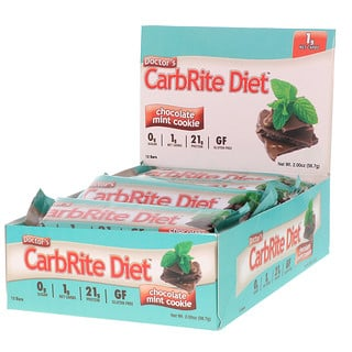 Universal Nutrition, Doctor's CarbRite Diet, Sugar Free Bar, Chocolate Mint Cookie, 12 Bars, 2.00 oz (56.7 g) Each