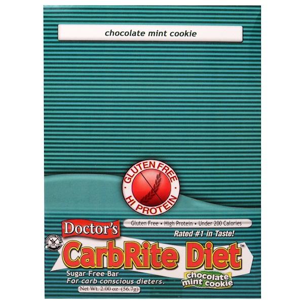Universal Nutrition, Doctor's CarbRite Diet, батончик без сахара, шоколадное мятное печенье, 12 батончиков, по 2 унции (56,7 г) каждый