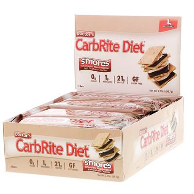 Фото - Doctor's CarbRite диетический батончик без сахара, со вкусом десерта «смор», 12 батончиков, 56,7 г (2,00 унции) каждый big 100 батончик вместо еды со вкусом хрустящего печенья 9 батончиков весом 100 г 3 52 унции каждый
