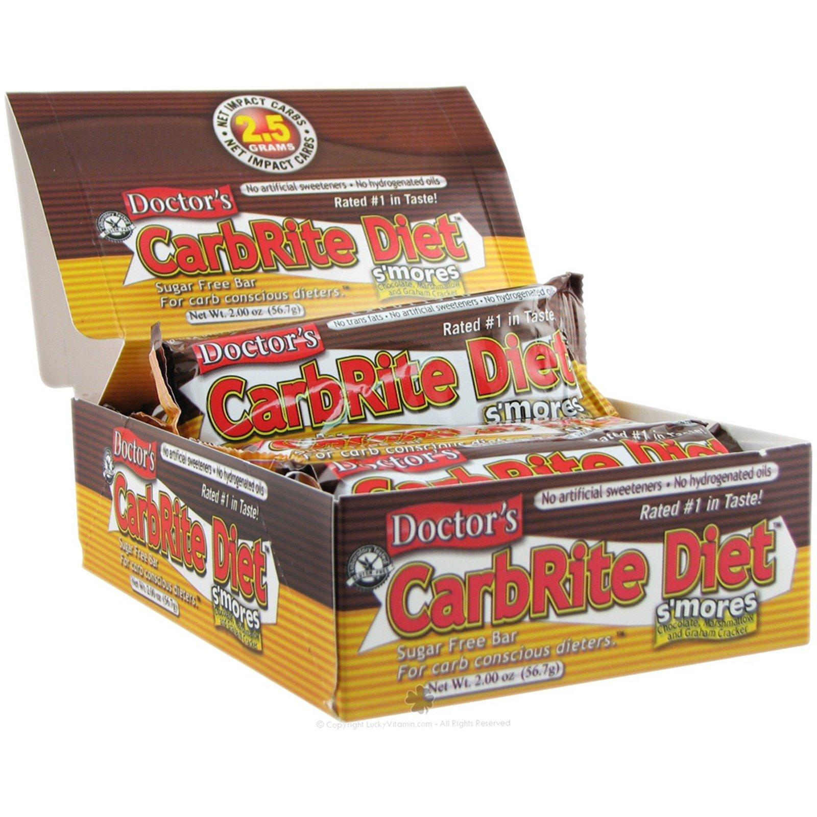 Universal Nutrition, Диетические батончики без сахара Doctor's CarbRite, Смор, 12 батончиков, 2 унции (56,7 г) каждый
