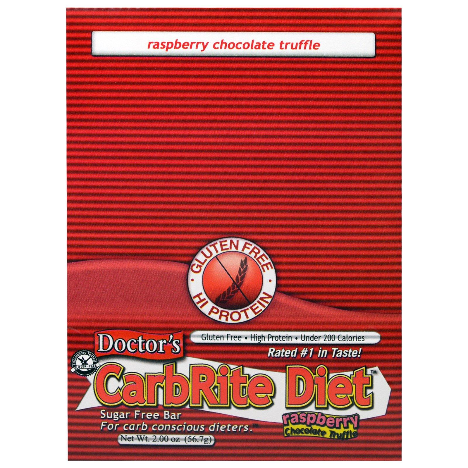 Universal Nutrition, Doctor's CarbRite Diet, батончик без сахара, малина, шоколад и трюфель, 12 батончиков, по 2 унции (56,7 г) каждый