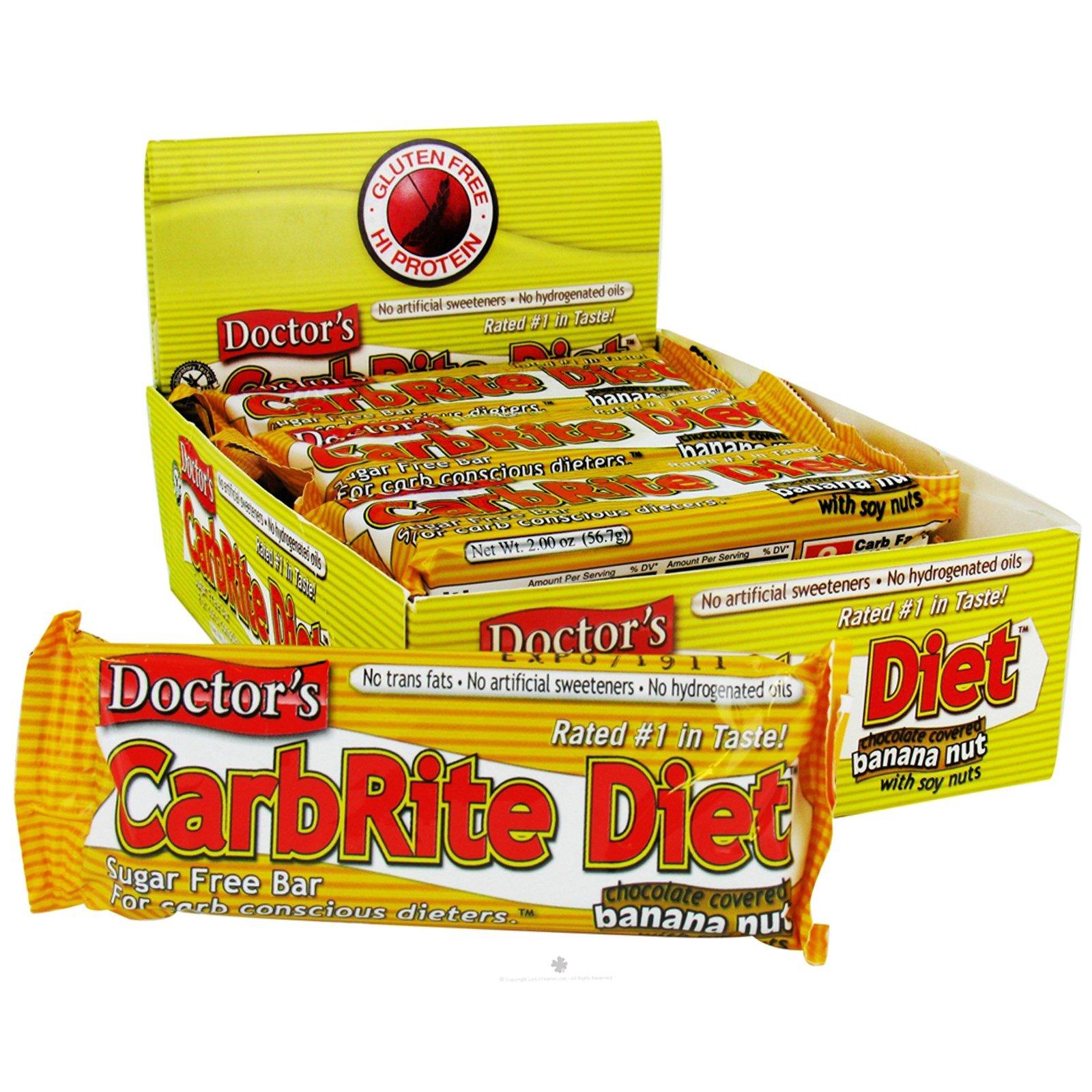 Universal Nutrition, Doctor's CarbRite Diet, без сахара, банан в шоколаде, лесной орех, 12 плиток, по 2 унции (56,7 г) каждая