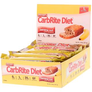 Universal Nutrition, ドクターズ・カーブライト・ダイエット、無糖、チョコレートをかけたアーモンド入りバナナナッツ、12本入り、各2 oz (56.7 g)