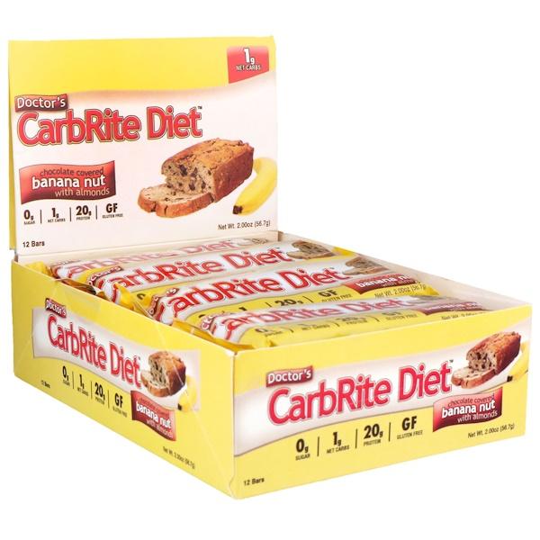 Universal Nutrition, 닥터스 카브라이트 다이어트, 무설탕, 아몬드 함유 초콜릿 커버 바나나 너트, 12 개, 각 2 oz (56.7 g)