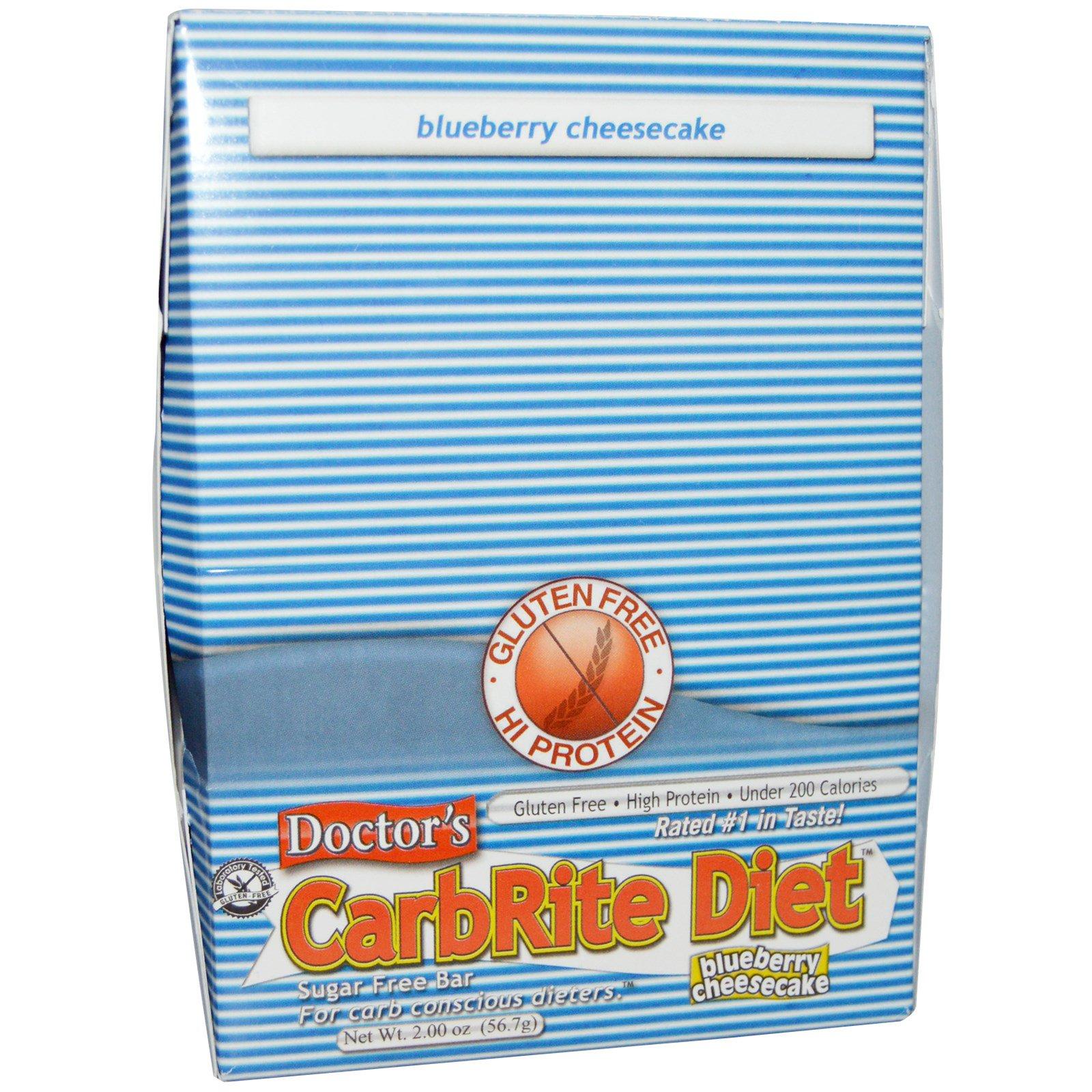 Universal Nutrition, Doctor's CarbRite Diet, черничный чизкейк, 12 плиток, по 2 унции (56,7 г) каждая