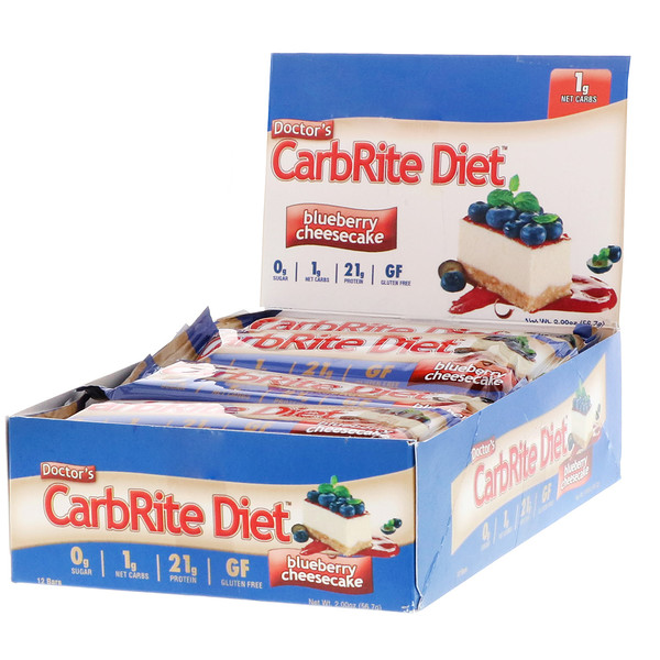 Universal Nutrition, Doctor's CarbRite Diet、ブルーベリー・チーズケーキ、バー12 本、各2.00 オンス (56.7 g) (Discontinued Item)