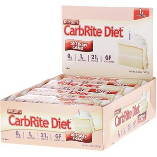 Universal Nutrition, Doctor's CarbRiteダイエットバー、バースデーケーキ、12バー、各2 oz (56.7 g)