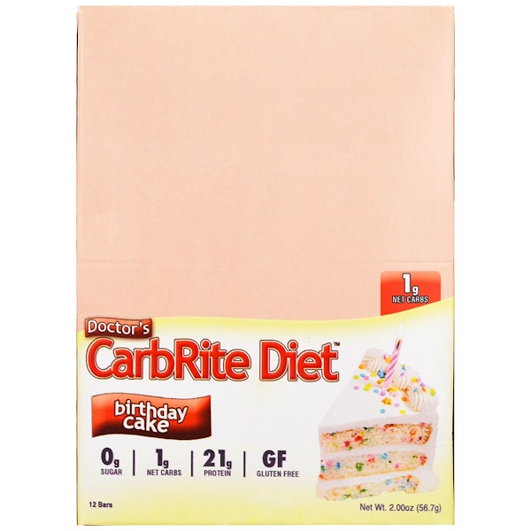 Universal Nutrition, 醫生CarbRite節食棒,生日蛋糕,12條,每條2盎司(56、7克)