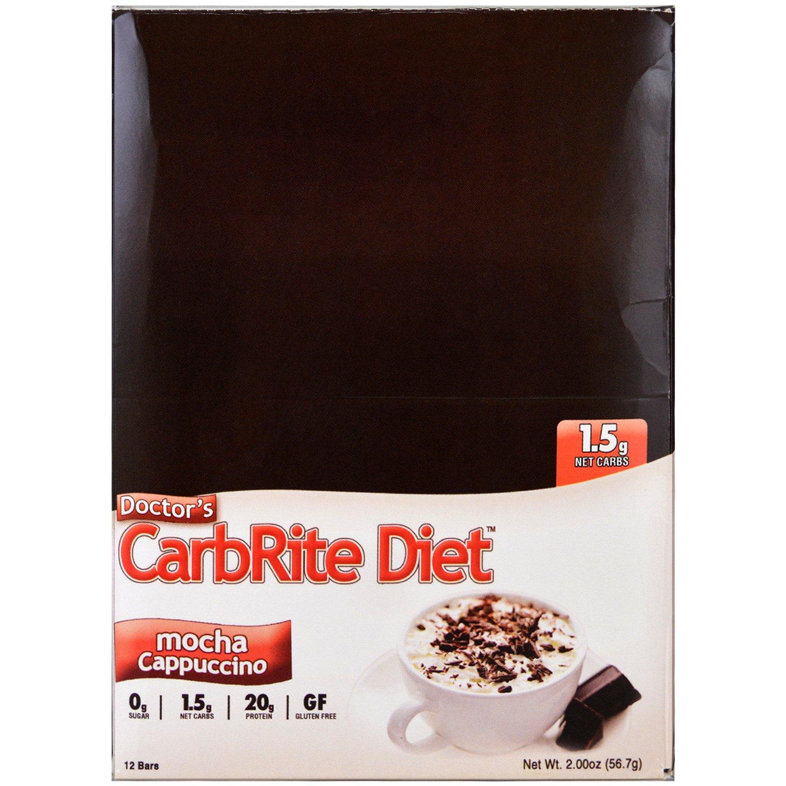 Universal Nutrition, Doctor's CarbRite Diet, мокко капучино, 12 батончиков, 2.00 унции (56.7 г)