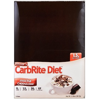 Universal Nutrition, Doctor's CarbRite Diet, 모카 카푸치노, 12 바, 2.00 oz (56.7 g)