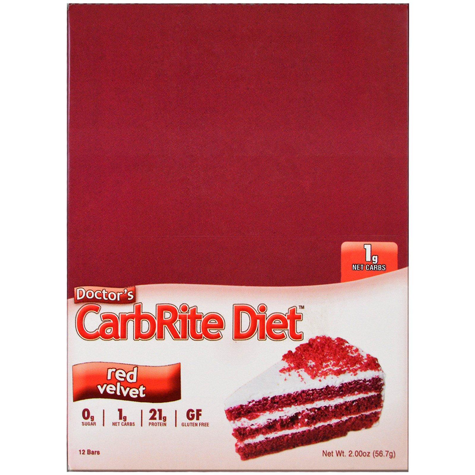 Universal Nutrition, Doctor's CarbRite Diet, красный бархат, 12 батончиков, 2,00 унции (56,7 г) каждый