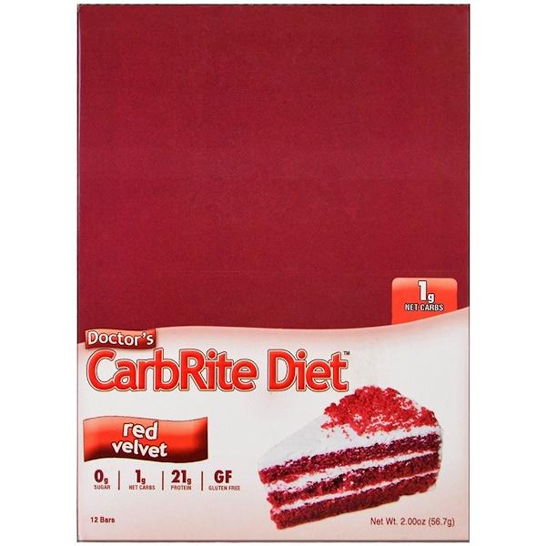 Universal Nutrition, Doctor's低碳飲食,紅絲絨蛋糕,12條,2、00盎司(56、7克)