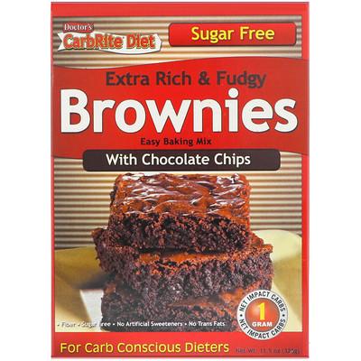 Doctor's CarbRite Diet, очень вкусные и тянущиеся брауни с шоколадной стружкой, 11,5 унций (326 г)