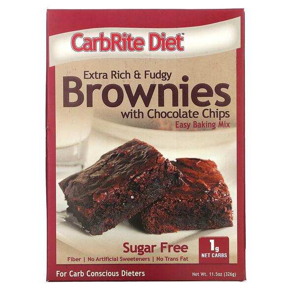 CarbRite Diet(カーブライトダイエット)、チョコレートチップ入りエクストラリッチ&ファッジーブラウニー、326g(11.5オンス)
