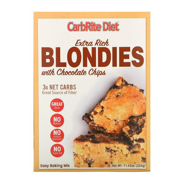 CarbRite Diet, Extra Rich Blondies with Chocolate Chips, Maltitol-Free, 11.43 oz (324 g)