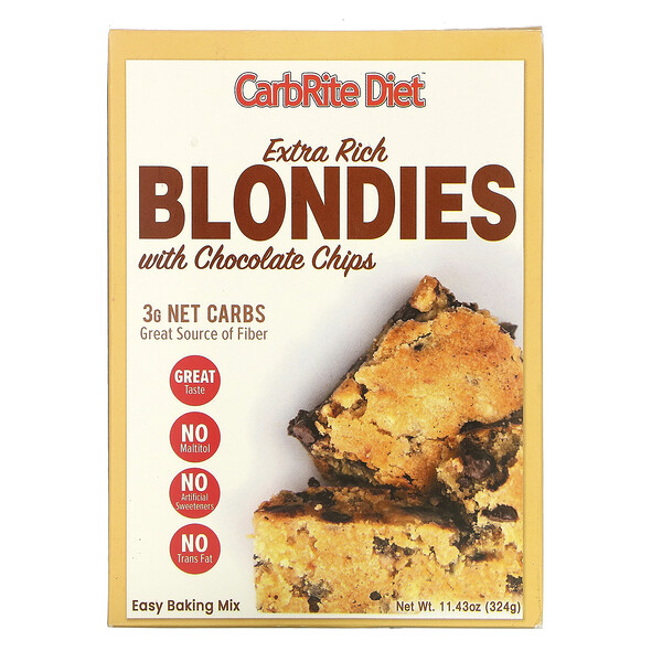 Universal Nutrition, CarbRite Diet, Extra Rich Blondies with Chocolate Chips, 11.43 oz (324 g)