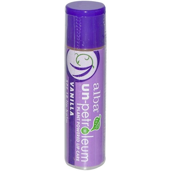 Alba Un-Petroleum, Lip Balm, SPF 18, Vanilla, 0.15 oz (4.2 g)