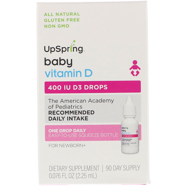 UpSpring, Vitamin D3 Drops, Baby, 400 IU, 0.076 fl oz (2.25 ml)