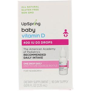 АпСпринг, Vitamin D3 Drops, Baby, 400 IU, 0.076 fl oz (2.25 ml) отзывы покупателей