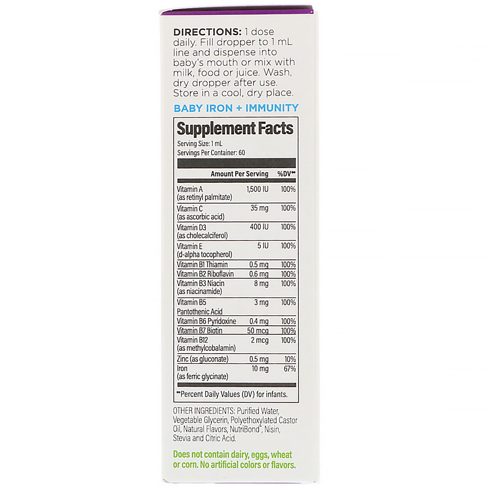 UpSpring, Iron + Immunity, Baby, 2 fl oz (60 ml) - iHerb com