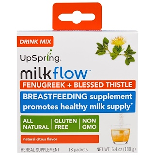 UpSpring, Milkflow, Fenugreek + Blessed Thistle Drink Mix, Natural Citrus Flavor, 18 Packets, 0.35 oz (10 g) Each