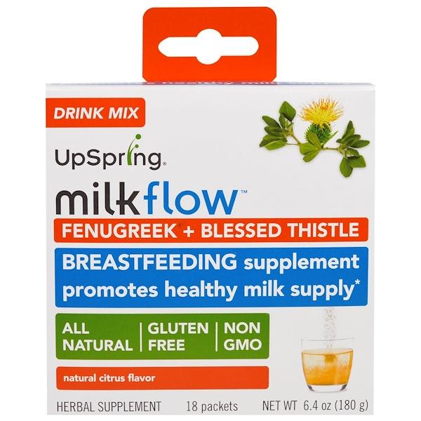 UpSpring, Milkflow, Fenugreek + Blessed Thistle Drink Mix, Natural Citrus Flavor, 18 Packets, 0.35 oz (10 g) Each (Discontinued Item)