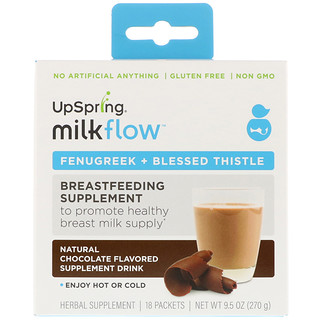 UpSpring, Milkflow, Fenugreek + Blessed Thistle Supplement Drink, Natural Chocolate Flavor, 18 Packets, (15 g) Each