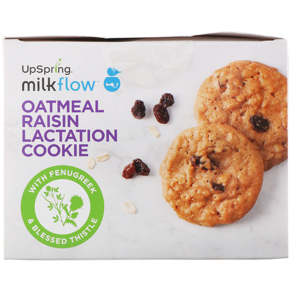 UpSpring, Milkflow, Lactation Cookies, Oatmeal Raisin, 10 Packets, 2 Cookies Each