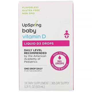 UpSpring, ベビー、リキッドD3ドロップ、ビタミンD、9.13 ml(0.31 fl oz)