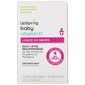 UpSpring, Baby, Liquid D3 Drops, Vitamin D,  0.31 fl oz (9.13 ml)